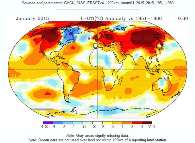 GISS Surface temperature January 2015