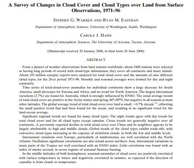 Survey of cloud cover change
