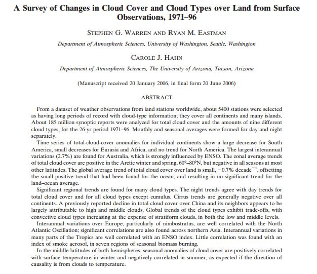 Survey of cloud cover change
